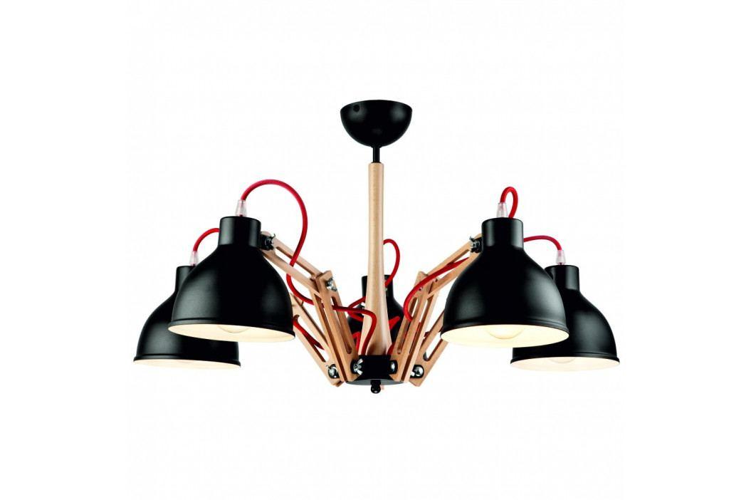 Černé závěsné svítidlo pro 5 žárovek Lamkur Marcello