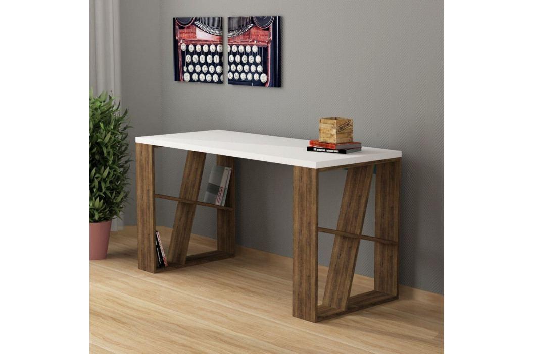 Pracovní stůl v dekoru dubového dřeva s bílou deskou Honey obrázek inspirace