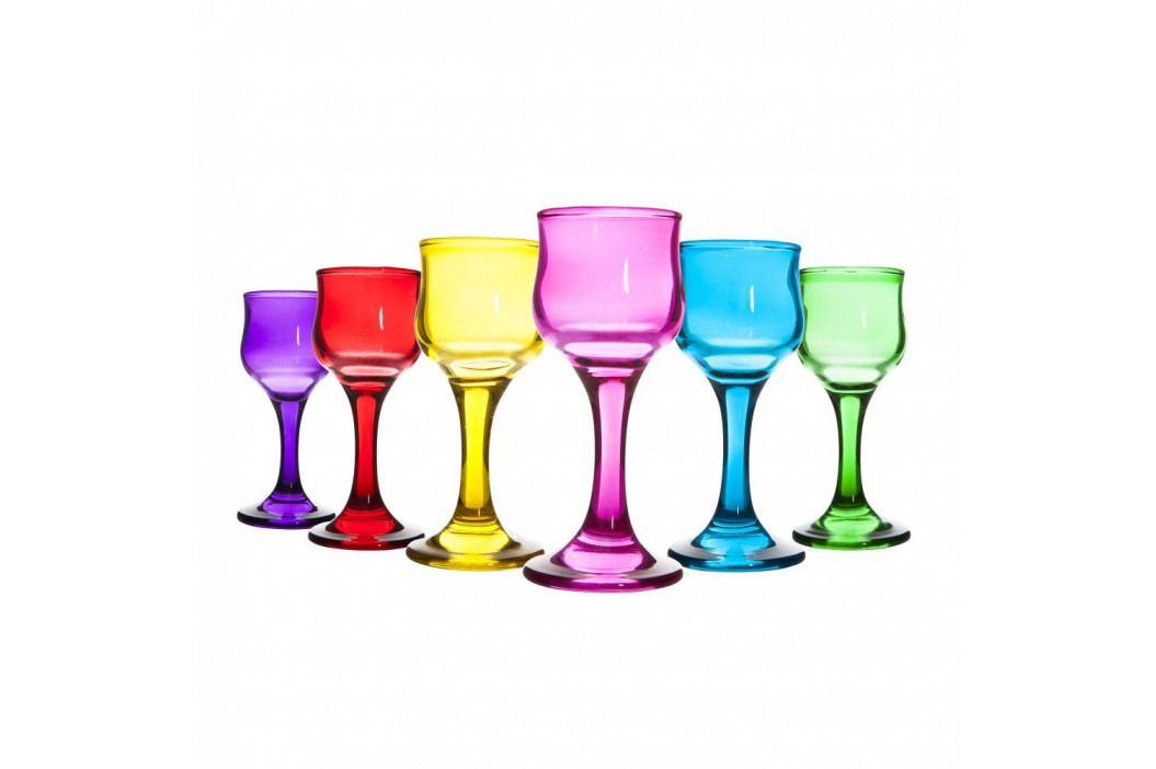 Sada 6 barevných skleněných číší na víno Mezzo, 60 ml obrázek inspirace