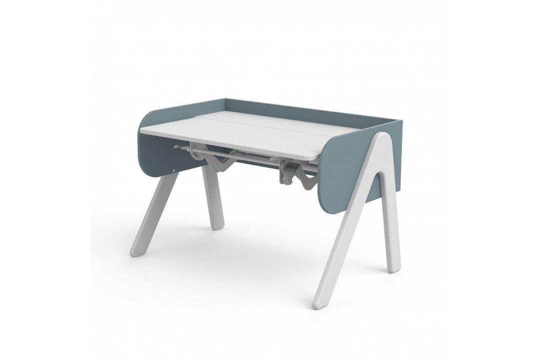 Modro-bílý psací stůl z borovicového dřeva s nastavitelnou výškou Flexa Woody