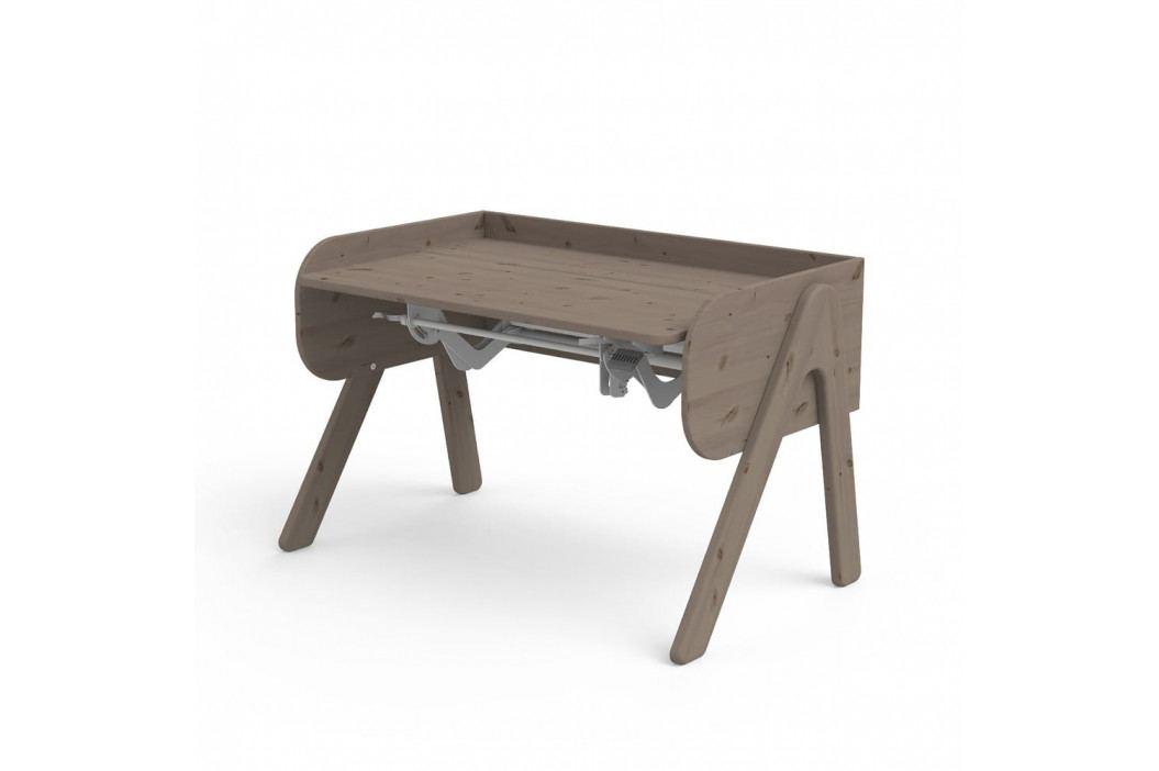 Tmavě hnědý psací stůl z borovicového dřeva s nastavitelnou výškou Flexa Woody