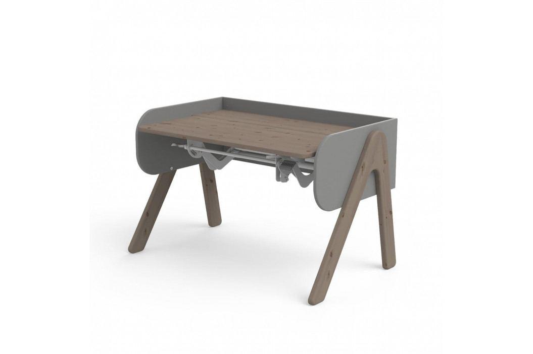 Tmavě hnědo-šedý psací stůl z borovicového dřeva s nastavitelnou výškou Flexa Woody