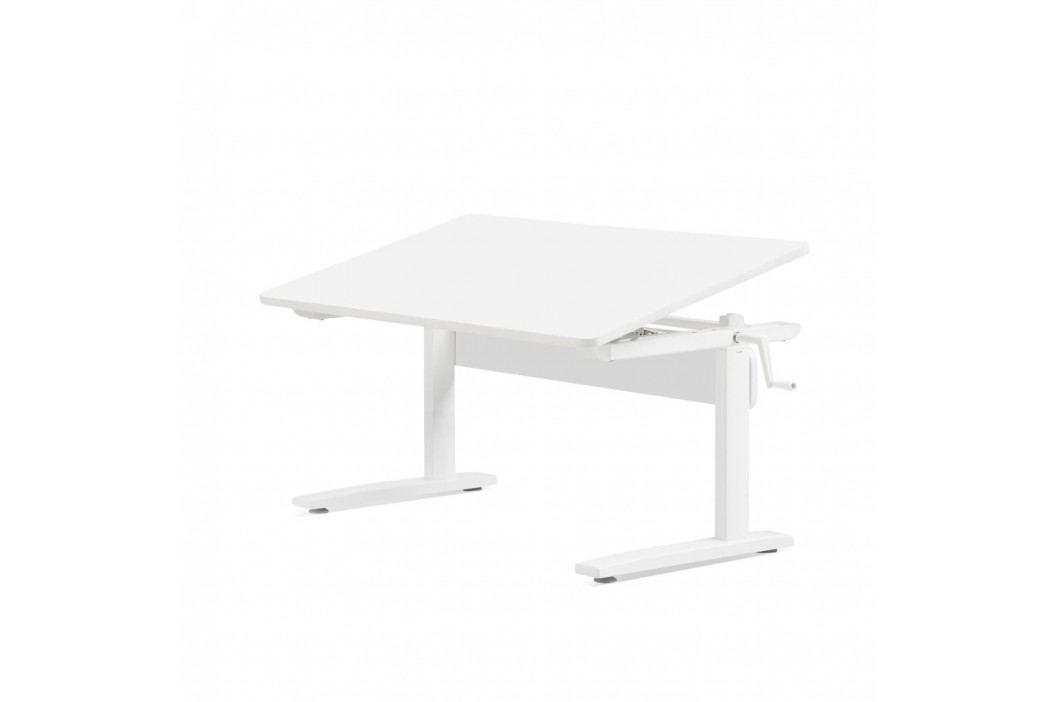 Bílý psací stůl s nastavitelnou výškou Flexa Elegant