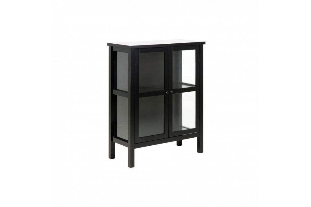 Černá 2dveřová vitrína Actona Eton, výška99,5cm