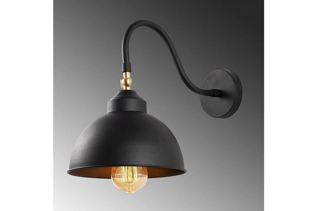 Černé kovové nástěnné svítidlo Opviqlights Fotini