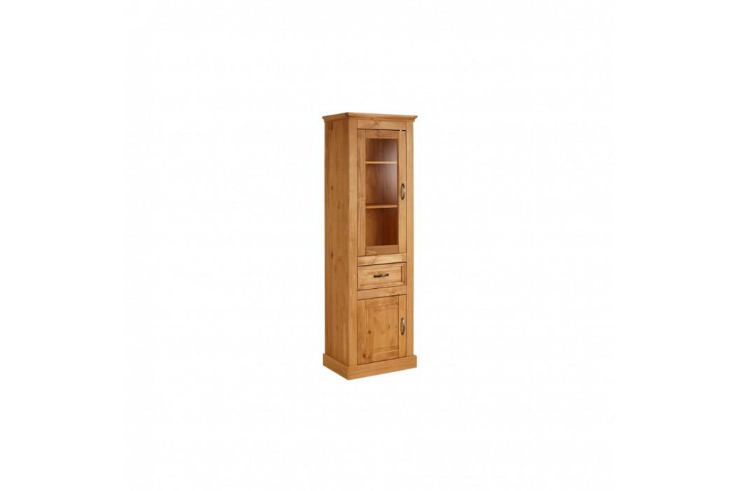 Hnědá úzká vitrína z masivního borovicového dřeva Støraa Suzie