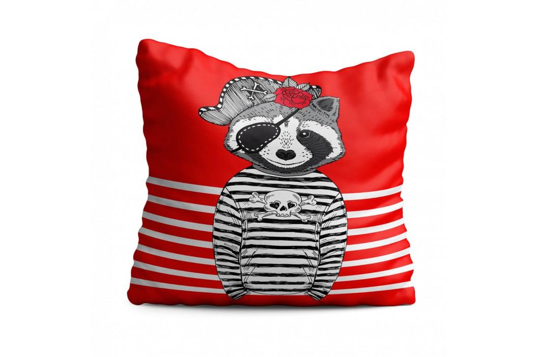 Dětský polštář OYO Kids Dog With Stripes Red Background, 40 x 40 cm