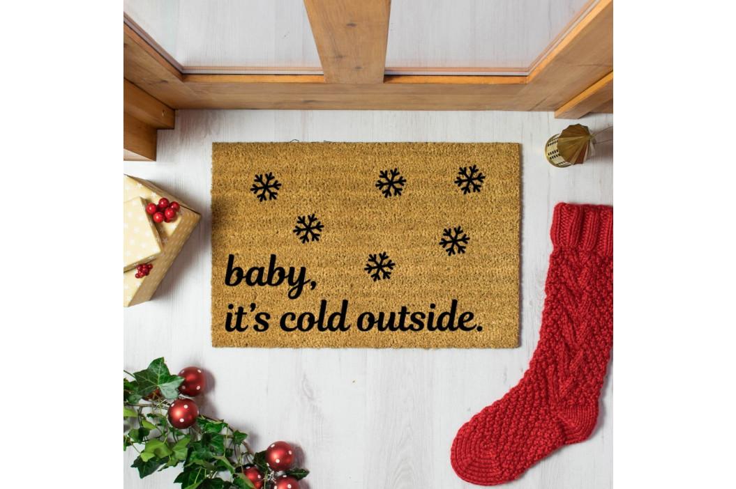 Černá rohožka z přírodního kokosového vlákna Artsy Doormats Baby It's Cold Outside,40x60cm