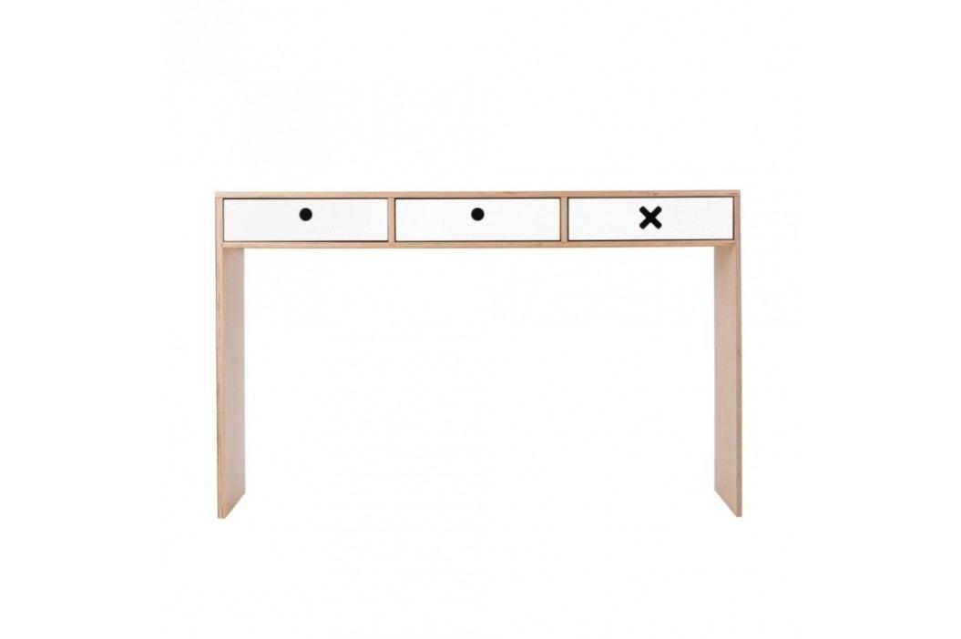 Bílý pracovní stůl se třemi zásuvkami Durbas Style