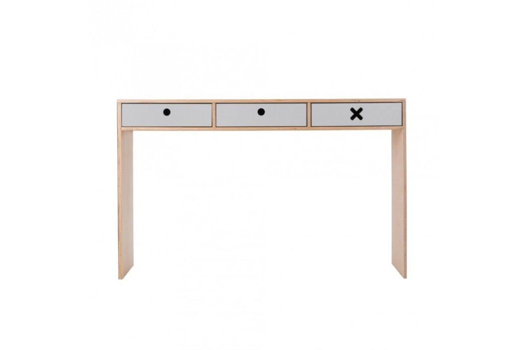 Šedý pracovní stůl se třemi zásuvkami Durbas Style