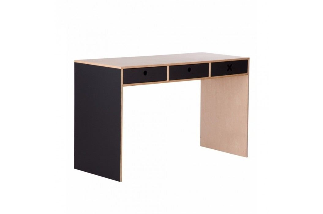 Černý pracovní stůl se třemi zásuvkami Durbas Style