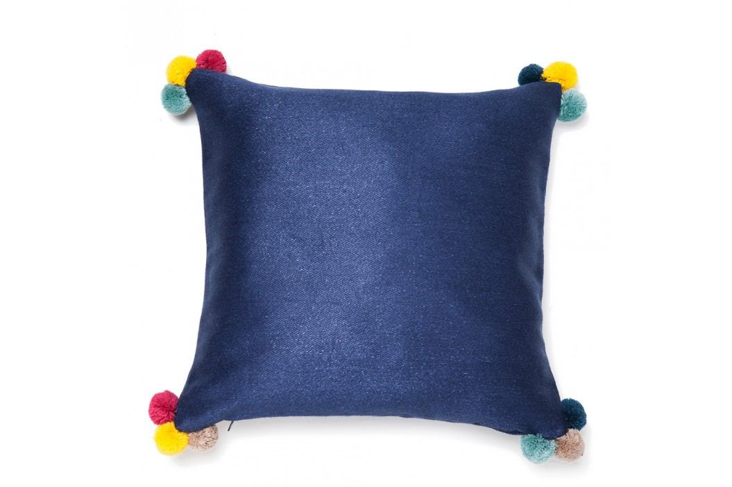 Modrý polštář Casa Di Bassi Pom Pom,40x40cm