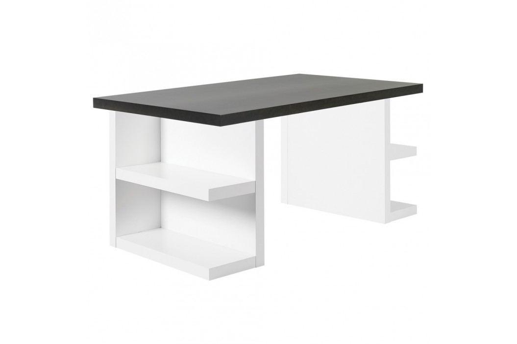 Tmavě hnědý pracovní stůl TemaHome Multi, 160 cm