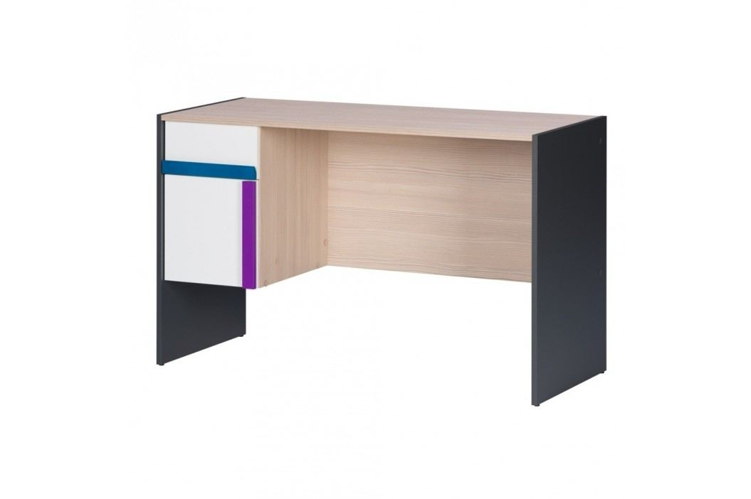 Černobílý psací stůl v borovicovém dekoru Szynaka Meble Ikar