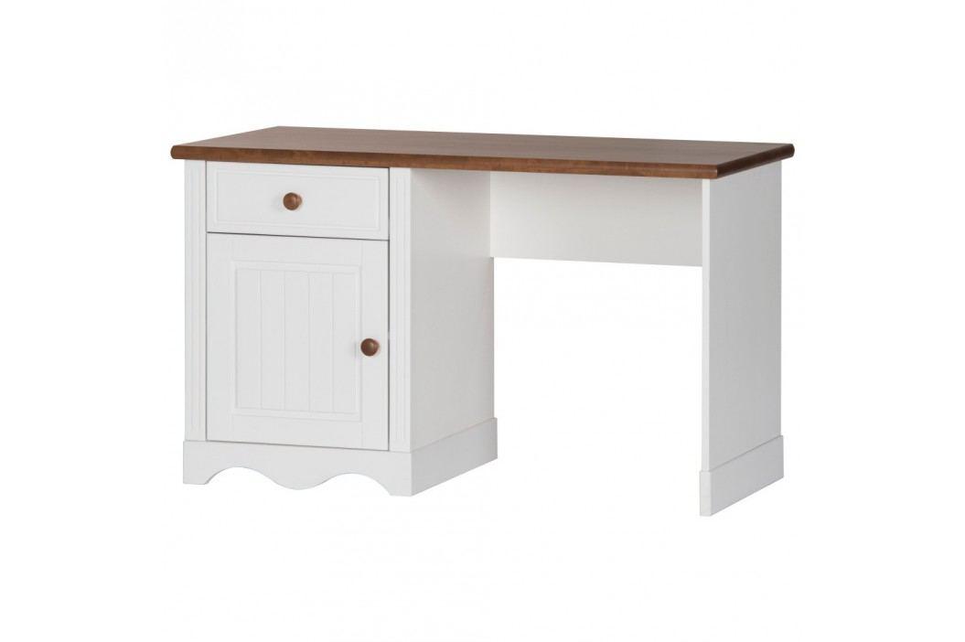 Bílý psací stůl s detaily v březovém dekoru Szynaka Meble Princessa