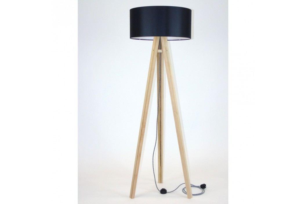 Stojací lampa s černým stínítkem a černo-bílým kabelem Ragaba Wanda