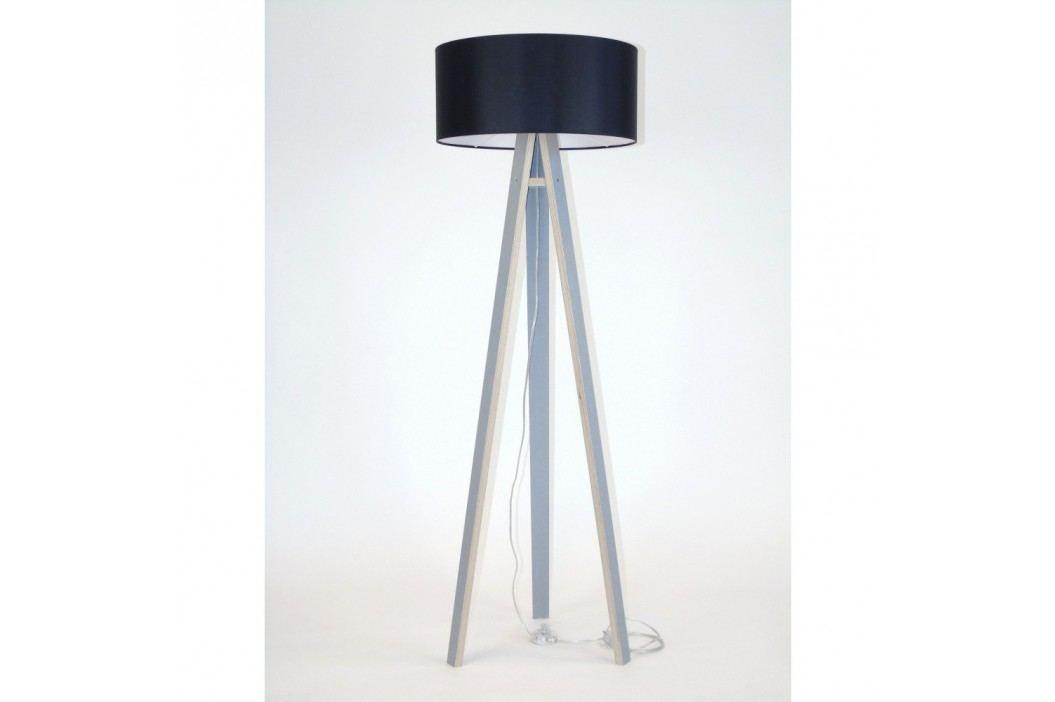 Šedá stojací lampa s černým stínítkem a transparentním kabelem Ragaba Wanda