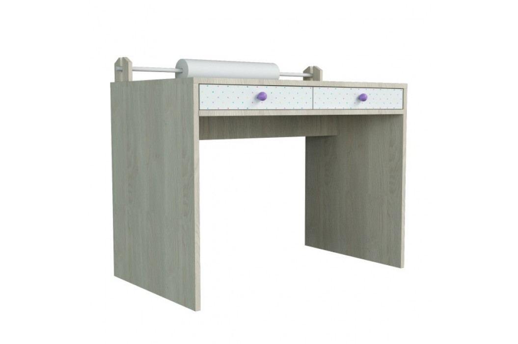 Menší psací stůl s fialovými detaily Dotties