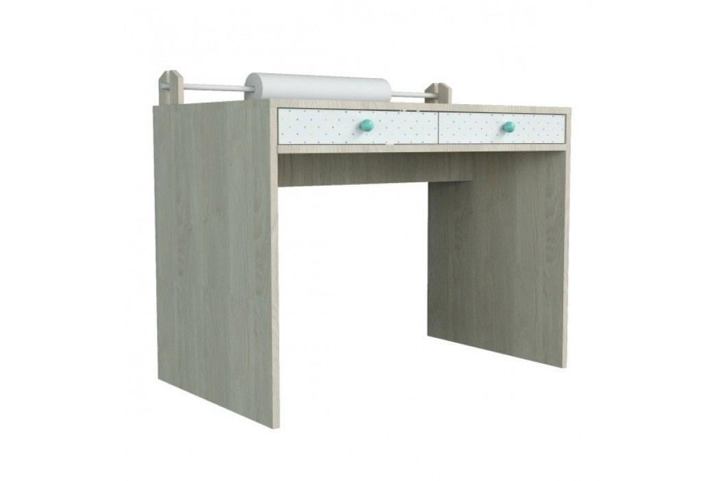 Menší psací stůl s povrchem z dýhy a mentolově zelenými detaily Dotties