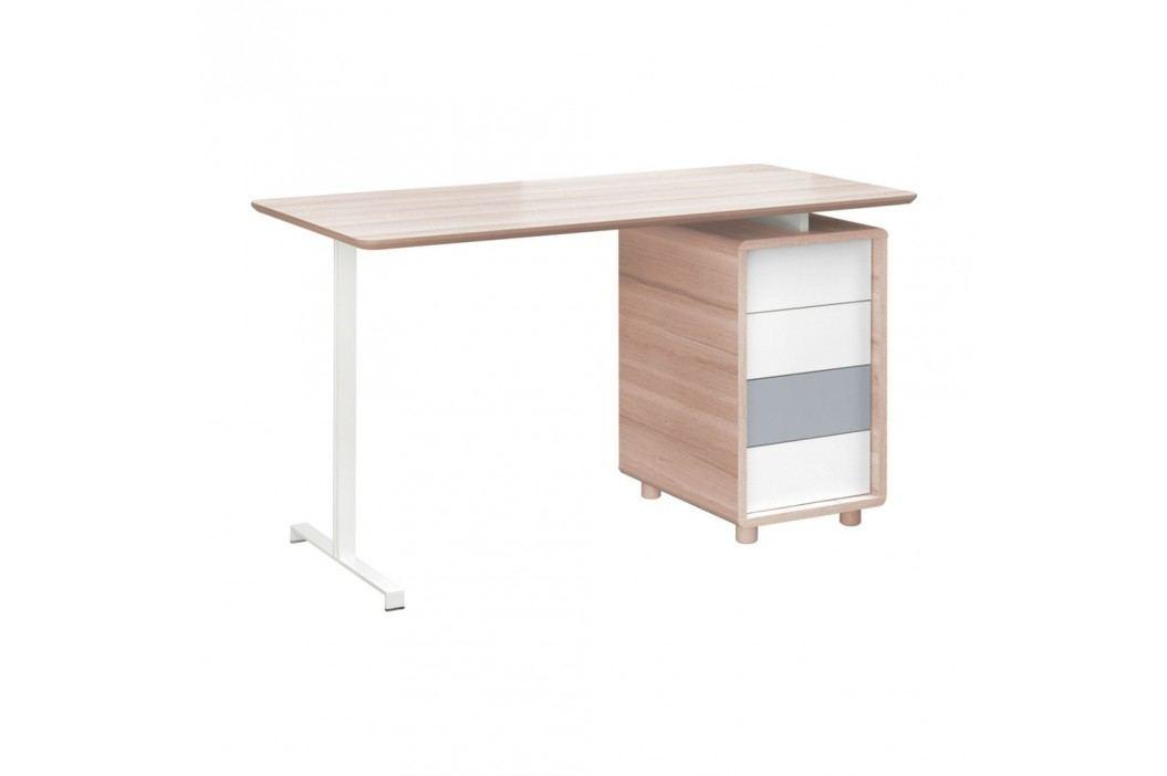 Pracovní stůl se čtyřmi bílo-šedými zásuvkami Vox Evolve