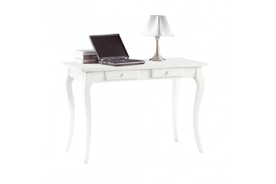 Bílý dřevěný pracovní stůl se 2 zásuvkami Castagnetti Mare