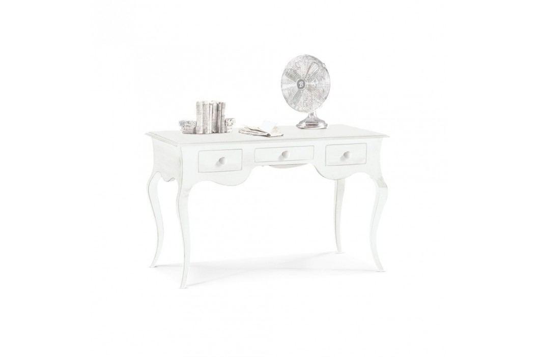 Bílý dřevěný pracovní stůl se 3 zásuvkami Castagnetti Scrivere