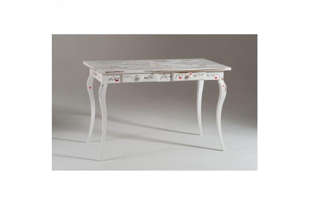 Bílý dřevěný pracovní stůl Castagnetti Signac