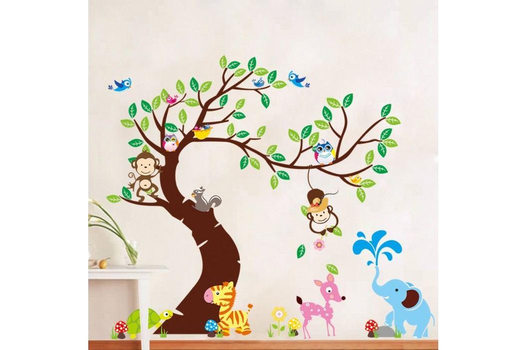 Sada nástěnných dětských samolepek Ambiance Tree, Monkeys and Elephant