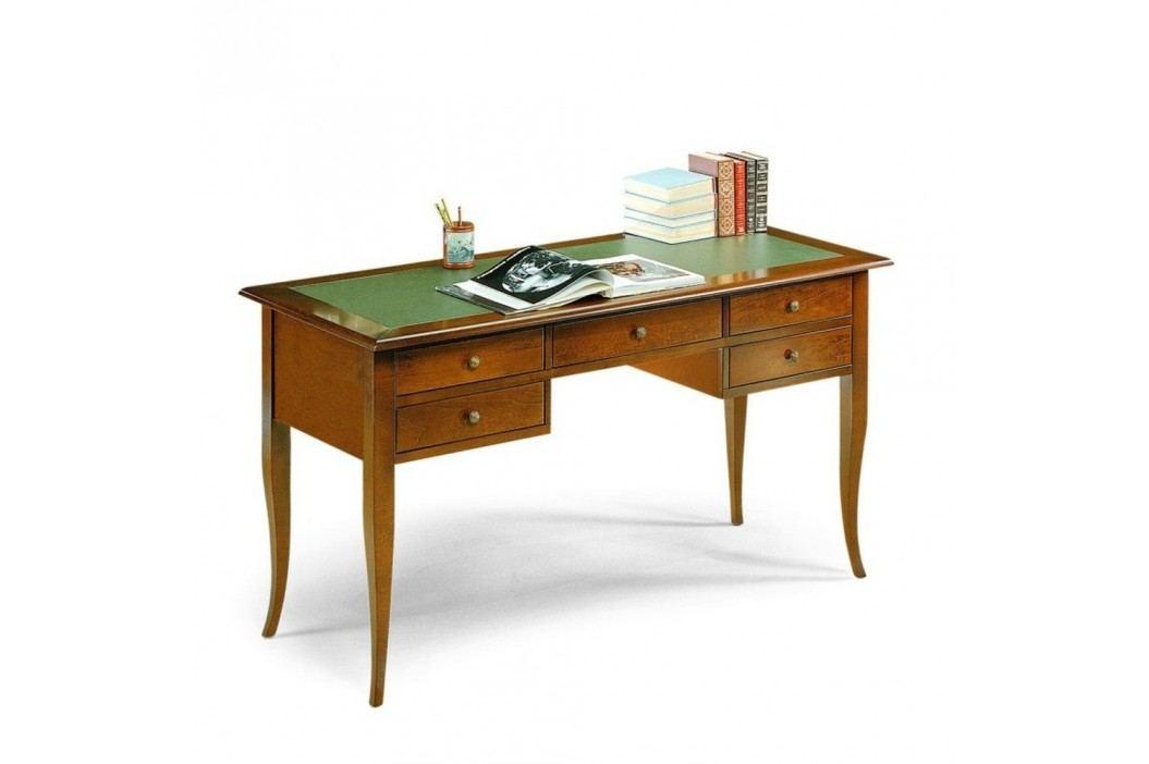 Dřevěný pracovní stůl s 5 zásuvkami a zeleným koženým povrchem Castagnetti Noce