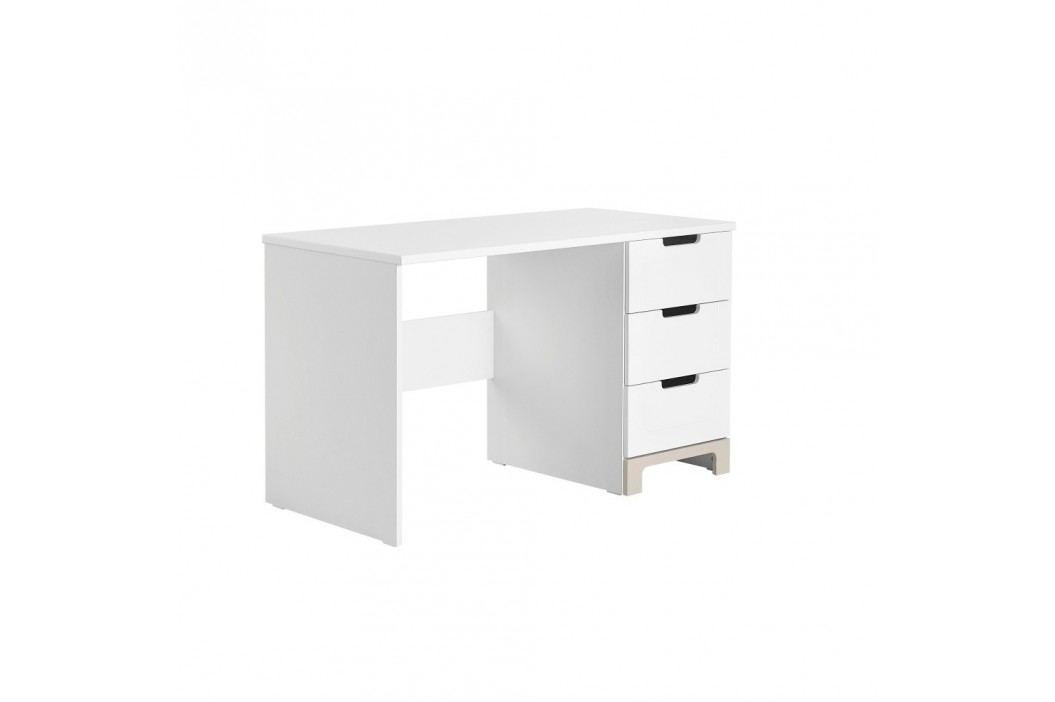 Bílo-šedý psací stůl Pinio Mini,délka120cm
