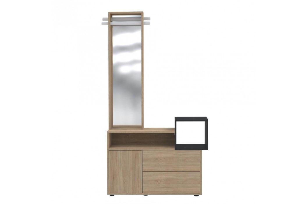 Světle hnědá skříň se zrcadlem Symbiosis Kube