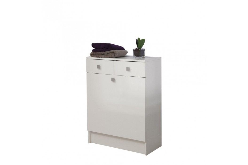 Bílá koupelnová skříňka na prádelní koš Symbiosis Combi,šířka60cm