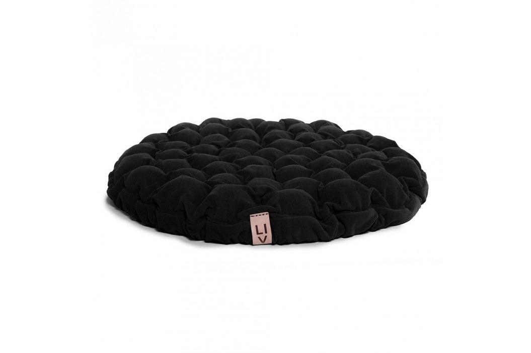 Černý sedací polštářek s masážními míčky Linda Vrňáková Bloom, ø75cm