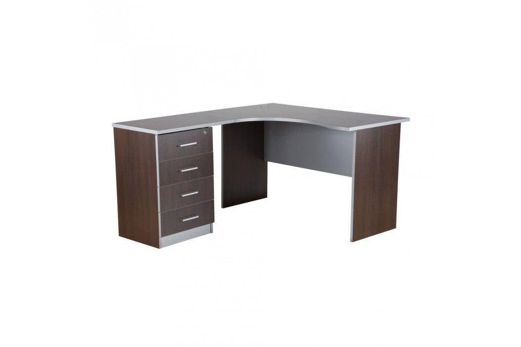 Pracovní stůl v tmavého dubu s kontejnerem Milky, levý roh