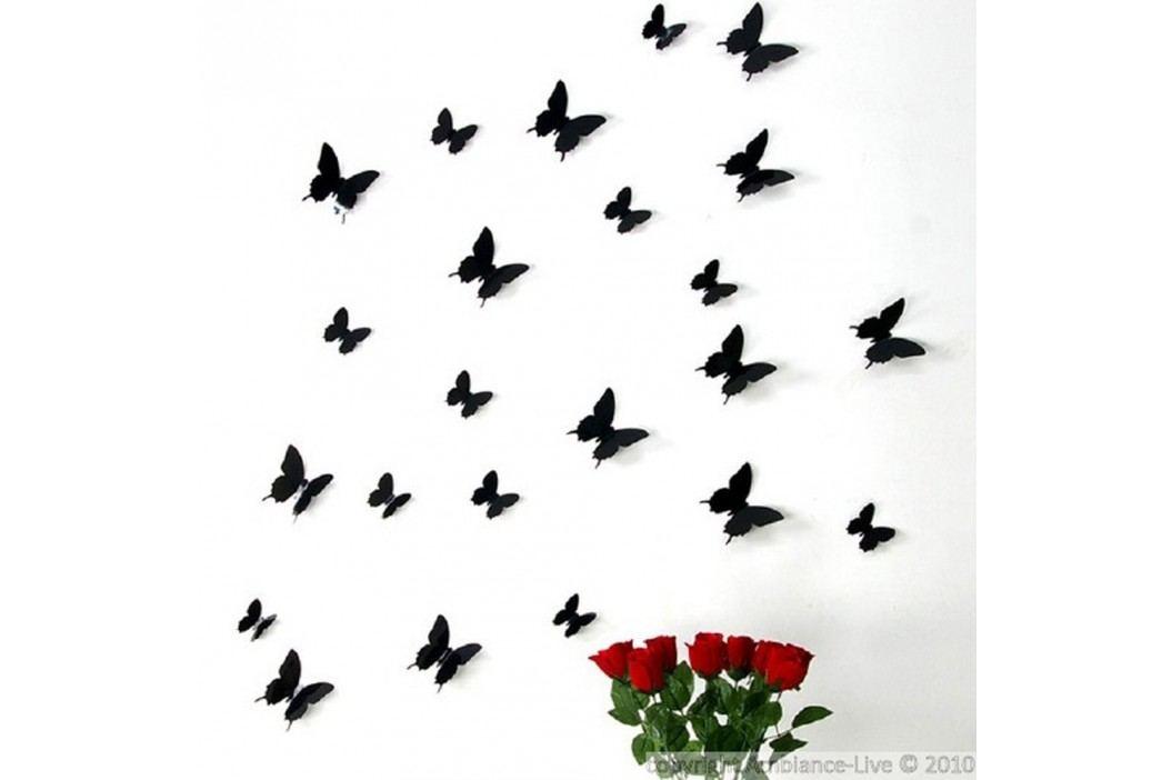 Sada 12 černých 3D samolepek Ambiance Butterflies