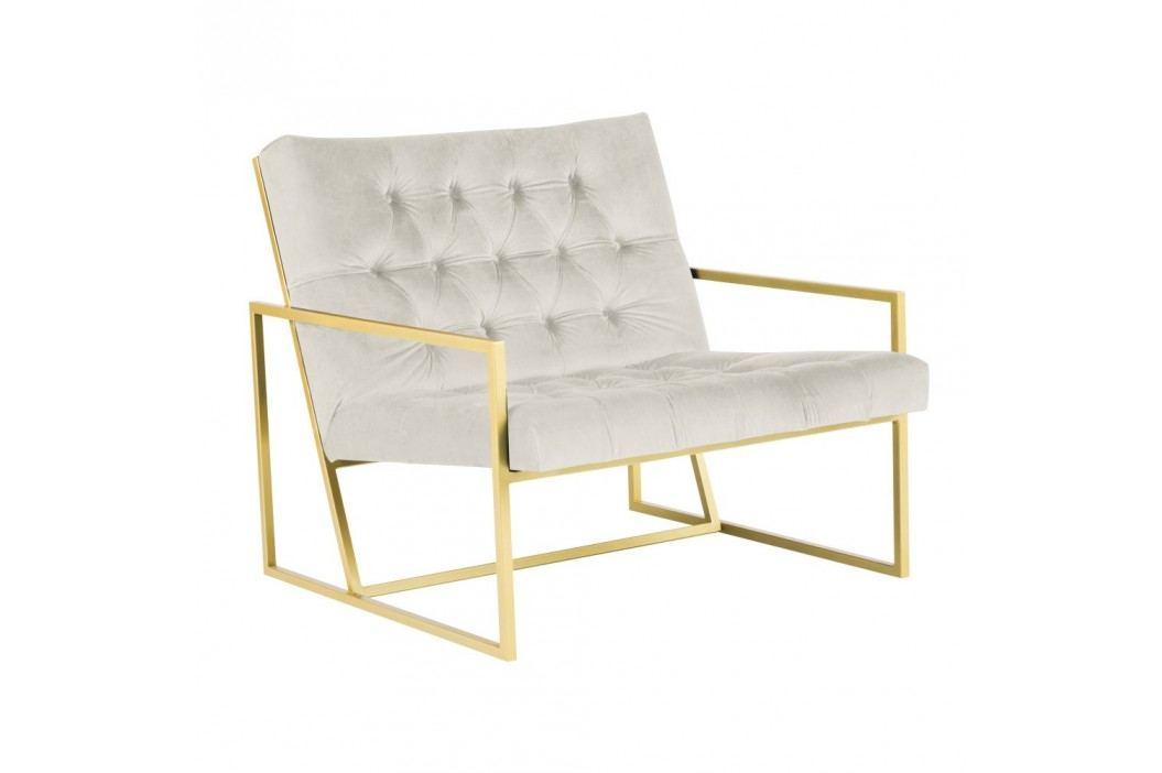 Krémové křeslo s konstrukcí ve zlaté barvě Mazzini Sofas Bono obrázek inspirace