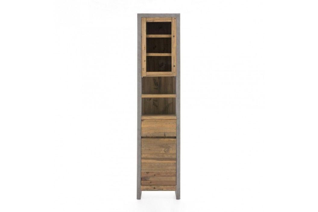 Vysoká šedá koupelnová skříňka z borovicového dřeva Woodking Stonewall