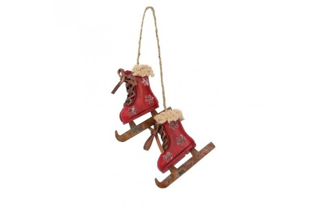 Závěsná dekorace Antic Line Skiing Boots Red