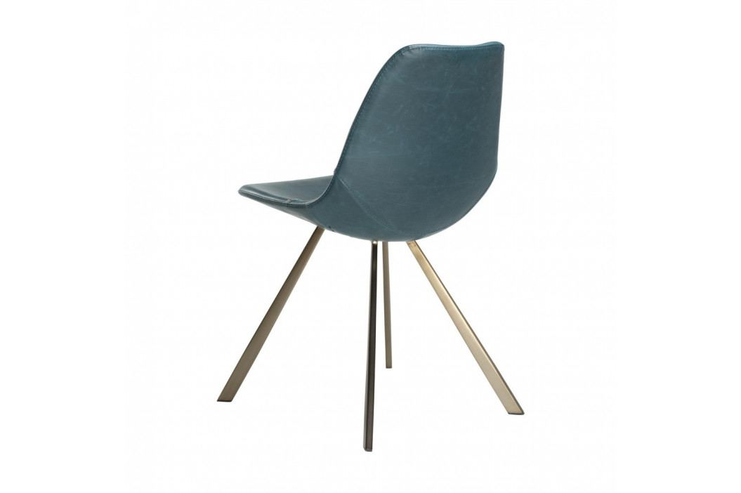 Modrá jídelní židle s podnožím ve zlaté barvě DAN–FORM Pitch