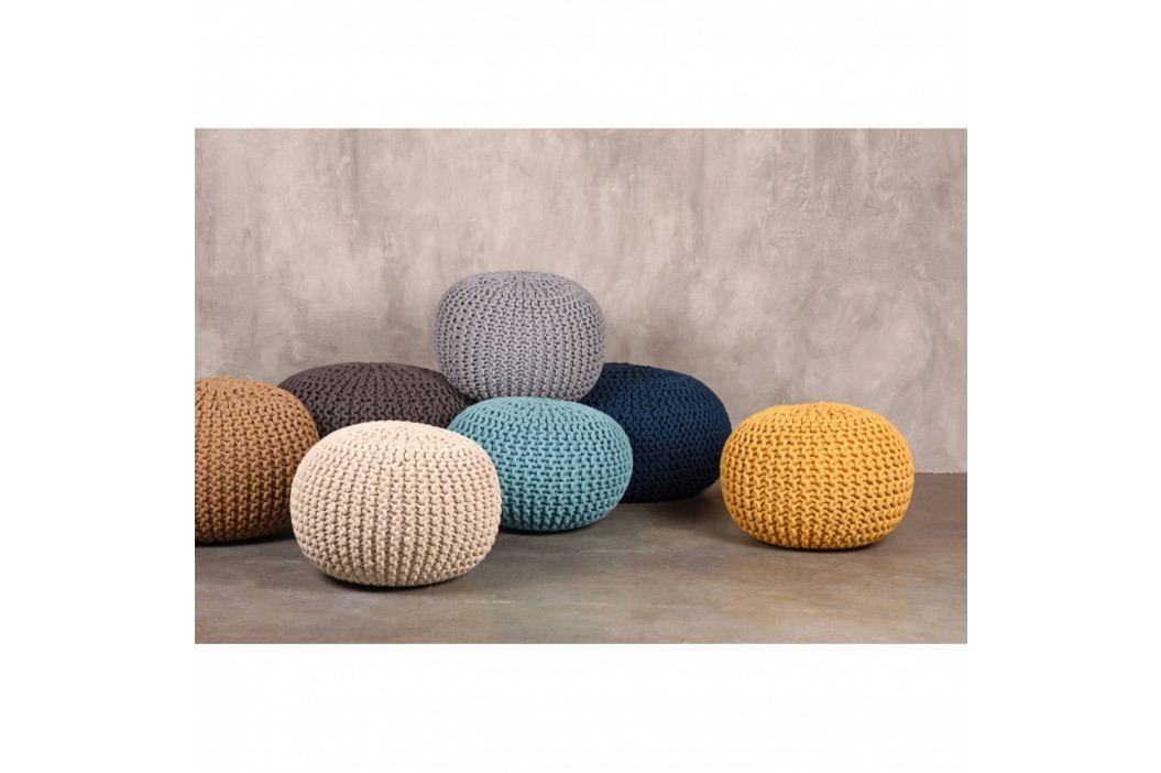 Modrý pletený puf LABEL51 Knitted, ⌀ 50 cm