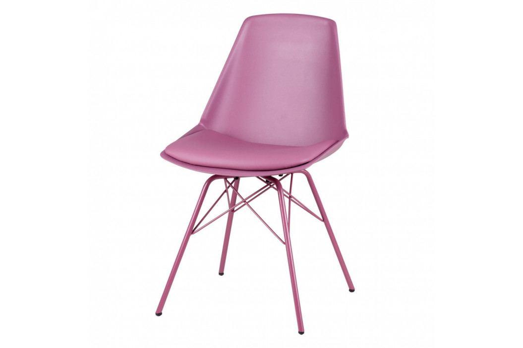 Sada 4 fialovo-růžových židlí sømcasa Tania