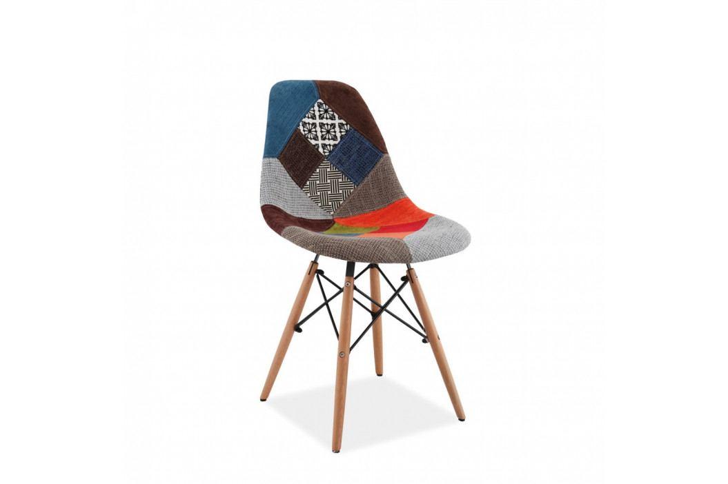 Barevná polstrovaná jídelní židle Signal Simon Patchwork obrázek inspirace