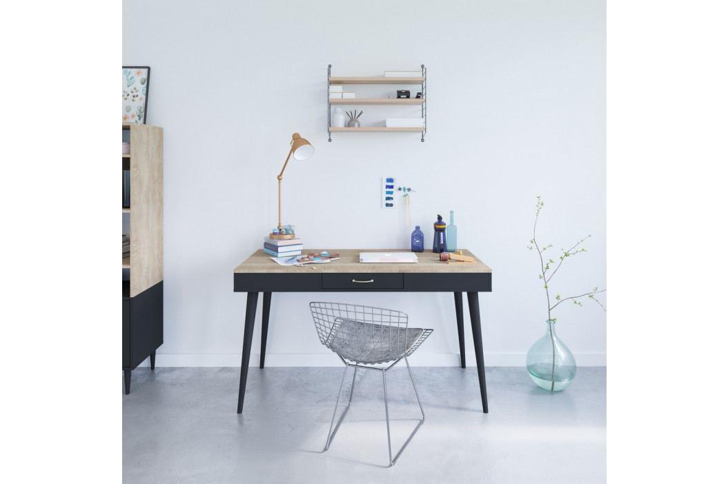 Černý pracovní stůl v dekoru dubového dřeva Symbiosis Horizon