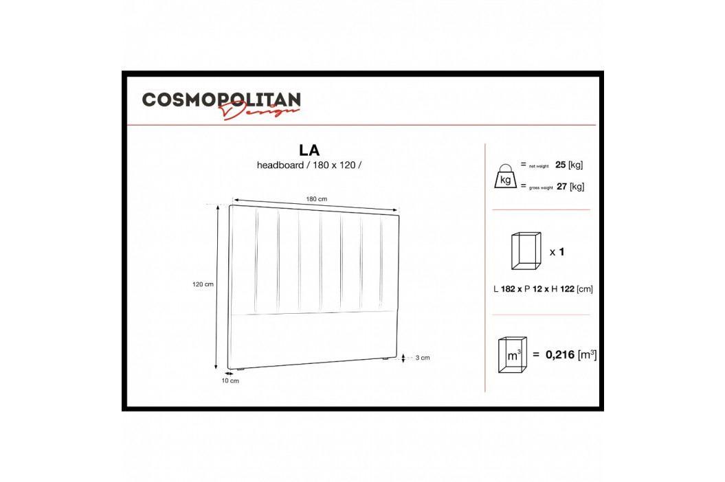 Fialové čelo postele Cosmopolitan Design Los Angeles, šířka 180cm