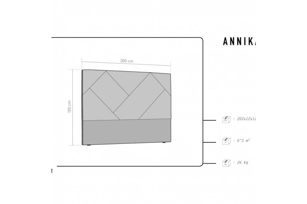 Růžové čelo postele HARPER MAISON Annika, 200 x 120 cm