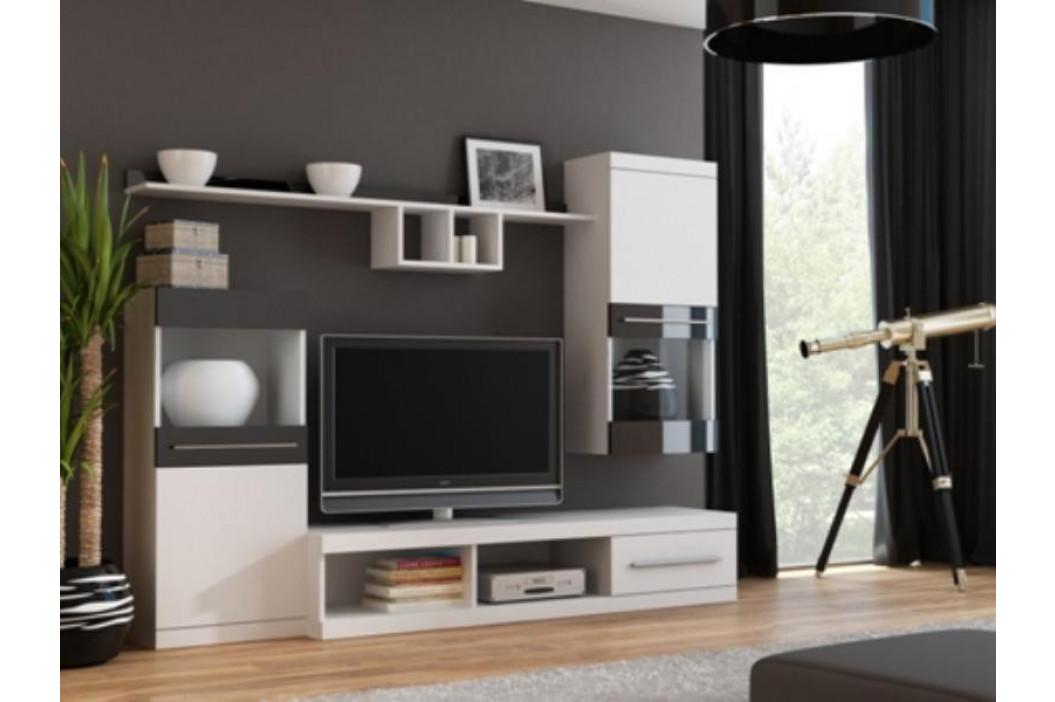 Cama Obývací stěna NICK - bílá/bílá/černá obrázek inspirace