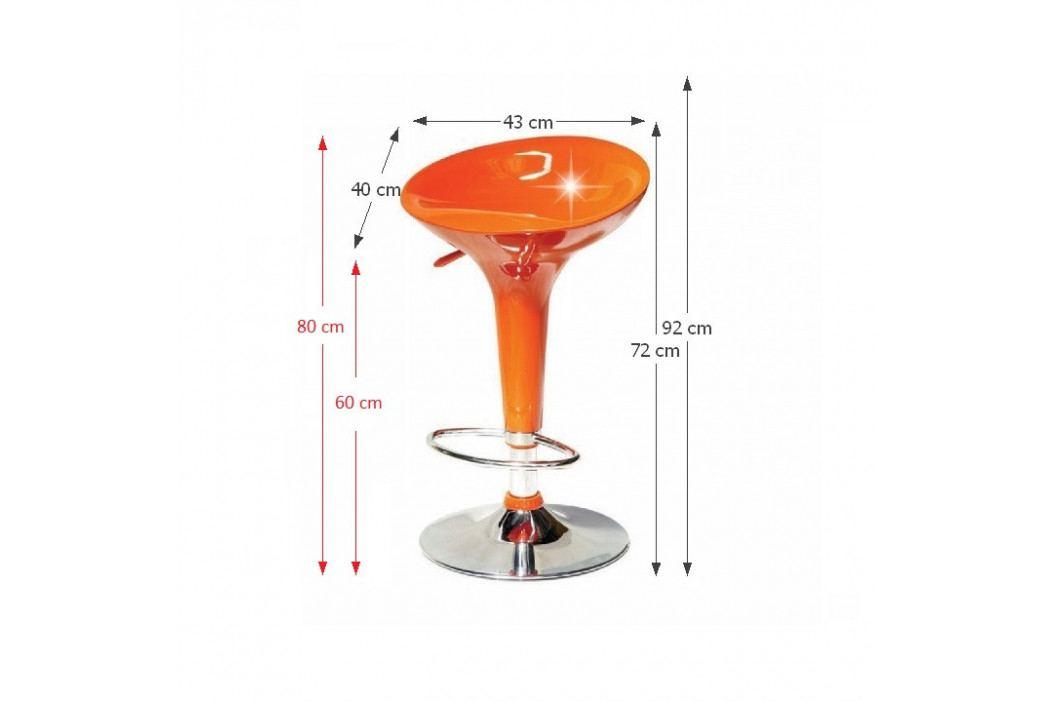Tempo Kondela Barová židle INGE- oranžová / chrom