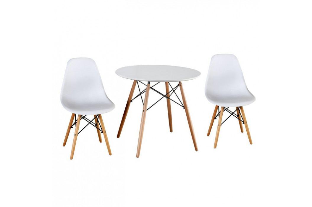 Tempo Kondela Jídelní stůl GAMIN 90 - dřevo + MDF, bílá