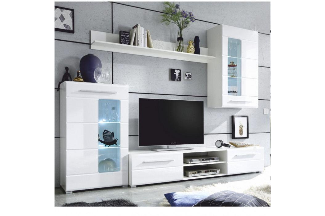 Tempo Kondela Obývací stěna HENRI - bílá lesk / čiré sklo obrázek inspirace