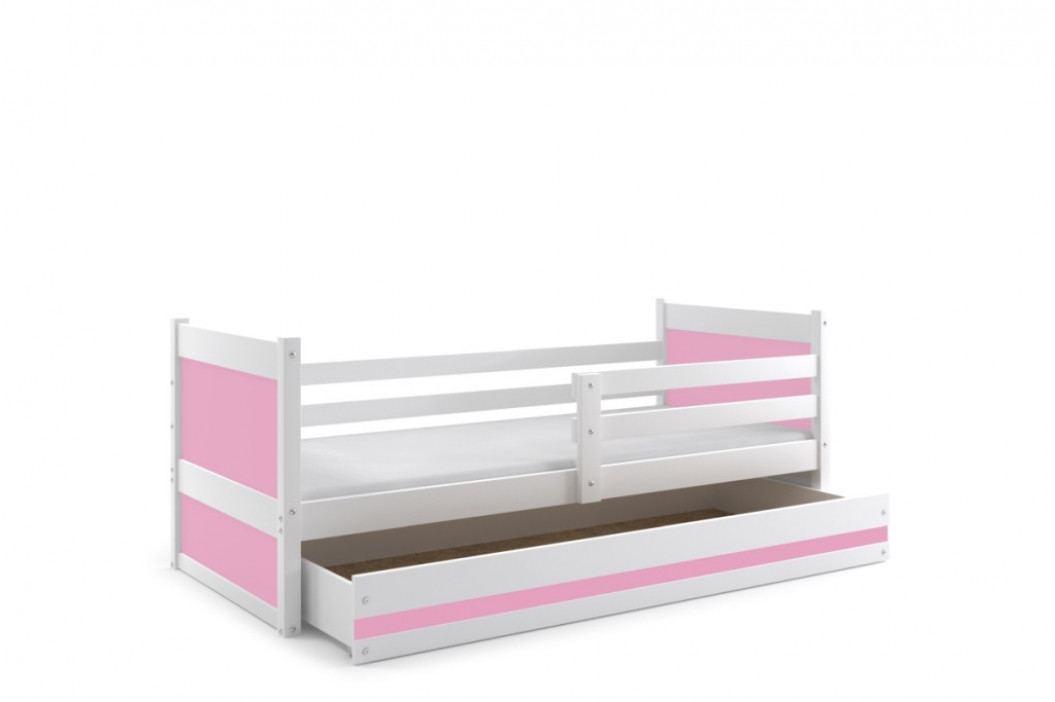 Falco Dětská postel Riky 90x200 - bílá/růžová